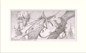 The Showdown (Russell Allen and Jørn Lande) original pencil drawing by Rodney Matthews
