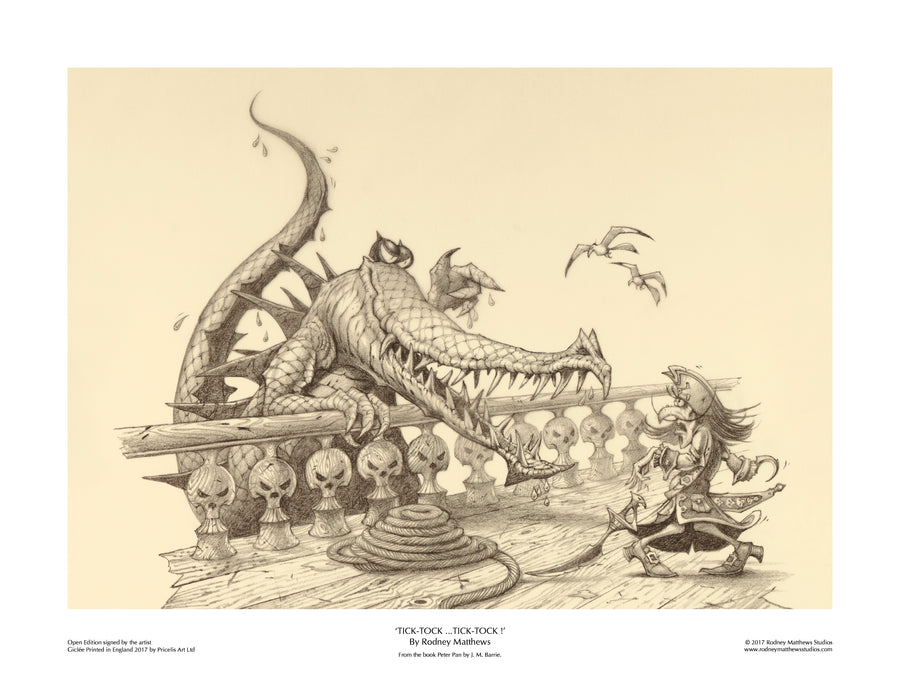 Tick-Tock ... Tick-Tock! (Peter Pan) open edition print, hand-signed by Rodney Matthews