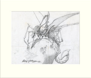 Detail from Time Tells No Lies: Wizard's Steed (II) (Praying Mantis) original pencil sketch by Rodney Matthews
