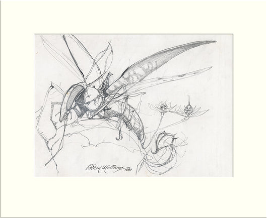 Detail from Time Tells No Lies: Wizard's Steed (I) (Praying Mantis) original pencil sketch by Rodney Matthews