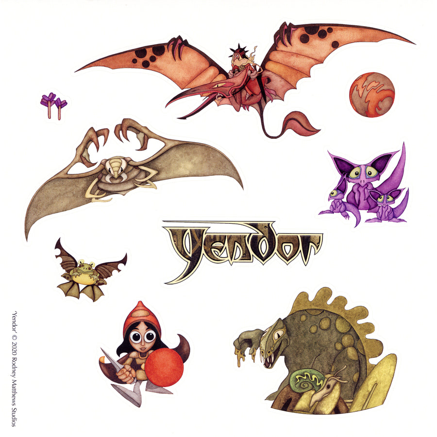 Yendor - The Journey of a Junior Adventurer Stickers (9 stickers on one sheet)