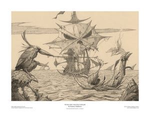 Peter and the Jolly Roger (Peter Pan) open edition print, hand-signed by Rodney Matthews