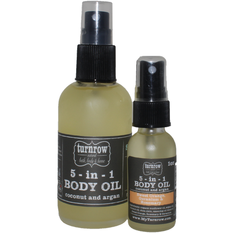 Sweet Orange, Rosemary & Geranium 5-in-1 Coconut & Argan Body Oil