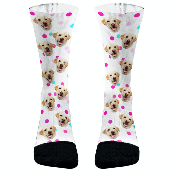 Your Pets Picture with Paws Socks Pink Polka Dots