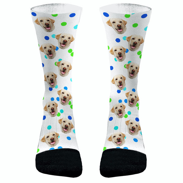 Your Pets Picture with Paws Socks Blue Polka Dots