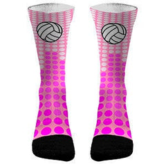Volleyball Pink Custom Compression Dri-Fit Socks - Crew Length