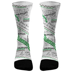 Philippians 4:13 (Green) Custom Compression Dri-Fit Socks
