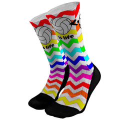 Volleyball is Life Chevron Stripes Custom Compression Dri-Fit Socks - Crew Length