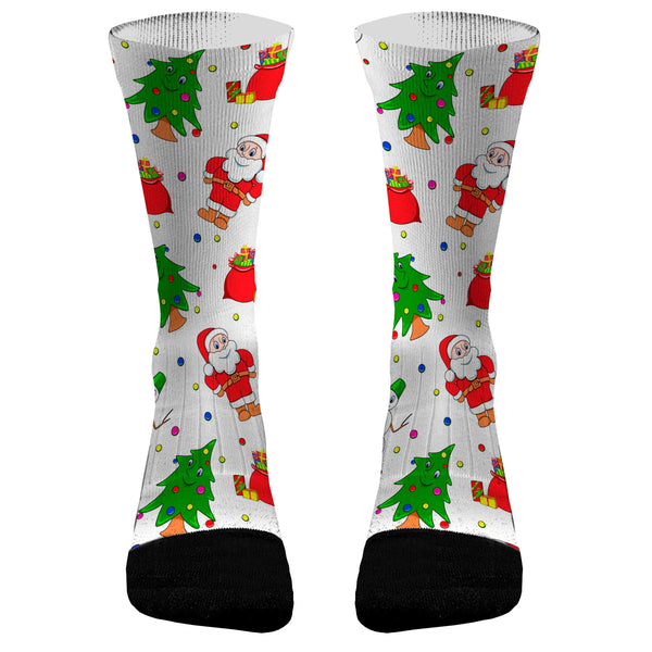 Ugly Sweater Santa Custom Dri-Fit Athletic Compression Socks