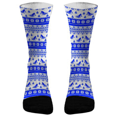 Ugly Sweater Skiier Custom Dri-Fit Athletic Compression Socks