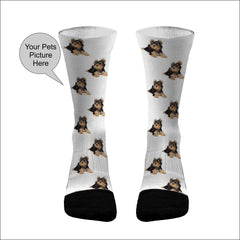 UPGRADE - 2 Pictures Your Pets Picture Socks Dri Fit Athletic Compression Socks Dog Socks Cat Socks Custom Pet Socks
