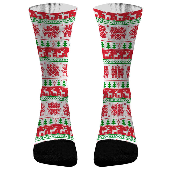 Christmas Socks Ugly Sweater Snowflake Custom Dri-Fit Athletic Compression Socks Fun Socks Great Gag Gift for Christmas