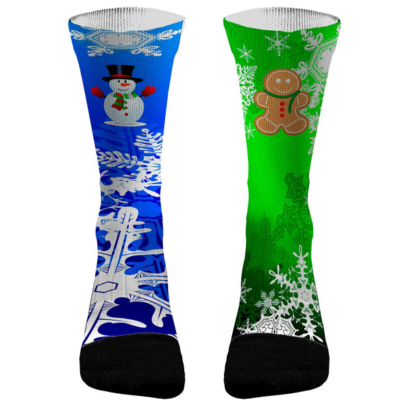 Christmas Socks Gingerbread & Snowman Custom Dri-Fit Athletic Compression Socks Great Gag Gift For Christmas