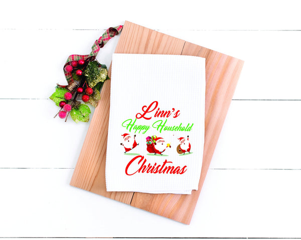 Personalized Kitchen Towel Personalized Holiday Towel Christmas Towel