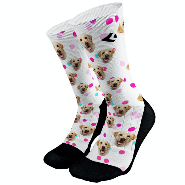 Your Pets Picture Socks Dri Fit Athletic Compression Socks Dog Socks Cat Socks Custom Pet Socks Pink Polka Dot Custom Socks