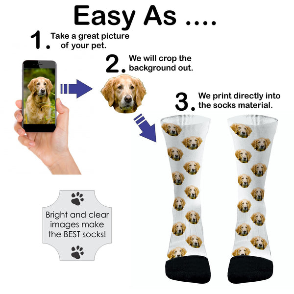 Your Pets Picture Socks Dri Fit Athletic Compression Socks Dog Socks Cat Socks Custom Pet Socks Cat Paws Dog Paws Custom Socks