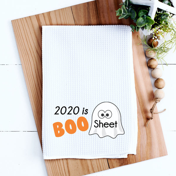 Halloween Kitchen Towel 2020 is Boo Sheet Kitchen Towel Halloween Gift Kitchen Towel Waffle Weave Kitchen Towel