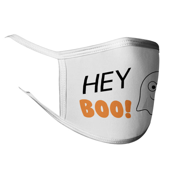 Hey Boo Face Mask Hey Boo Halloween Mask Cute Ghost Halloween Face Mask Washable Mask 2-ply Face Mask