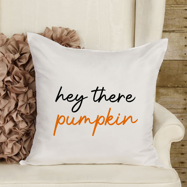 "Halloween Pillow Fall Pillow Cover 16"" x 16"" Inch Halloween Pumpkin Pillow Sham Hey There Pumpkin Pillow Decorative Pillow Cover ONLY"