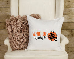 "Halloween Pillow What Up Witches Pillow Cover 16"" x 16"" Inch Halloween Witch Pillow Sham Funny Witch Pillow Decorative Pillow Cover ONLY"