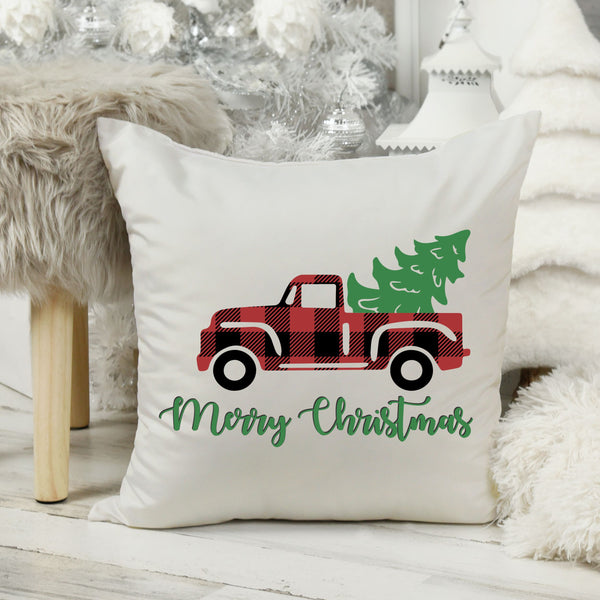 "Christmas Pillow Merry Christmas Pillow Cover 16"" x 16"" Inch Buffalo Plaid Pillow Christmas Buffalo Check Pillow Christmas Pillow Cover ONLY"