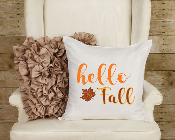 "Hello Fall Pillow Fall Pillow Fall Pillow Cover 16"" x 16"" Inch Fall Decor Pillow Sham Hello Fall Pillow Fall Decorative Pillow Cover ONLY"