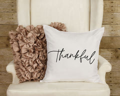 "Thankful Pillow Thanksgiving Pillow Cover 16"" x 16"" Inch Thankful Decorative Pillow Christmas Pillow Farmhouse Pillow Cover ONLY"
