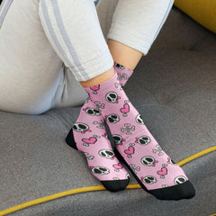 Halloween Socks Skull Cany Socks Pink Hearts and Skulls Skull Candy Halloween Dri Fit Athletic Halloween Socks