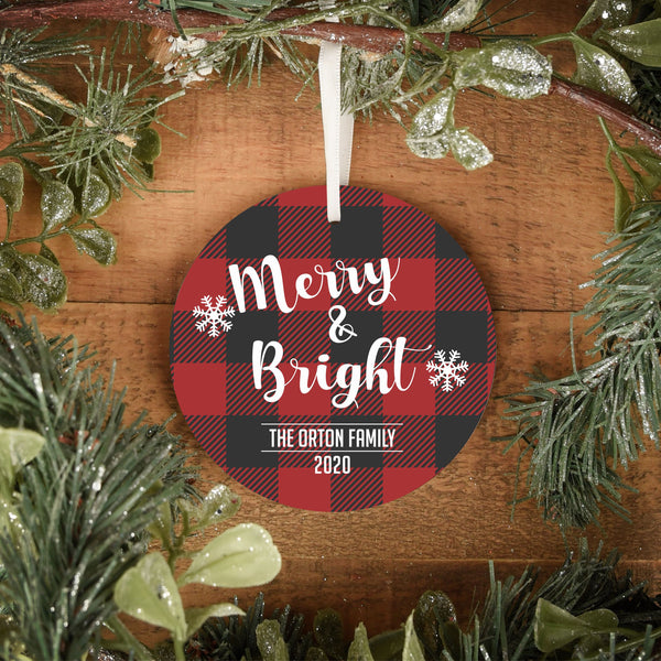 Personalized Ornament Buffalo Plaid Ornament Custom Christmas Ornament Merry and Bright Christmas Ornament Personalized Christmas Ornament