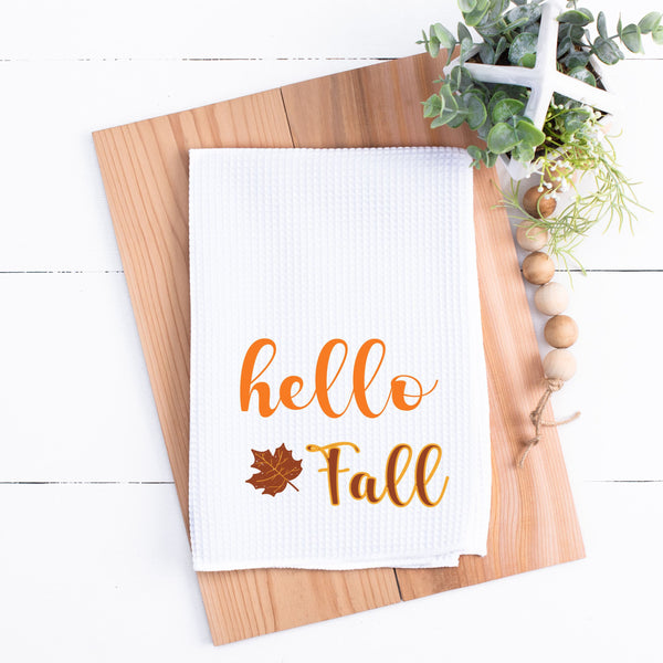 Hello Fall Kitchen Towel Fall Kitchen Towel Waffle Weave Kitchen Towel Fall Kitchen Towel