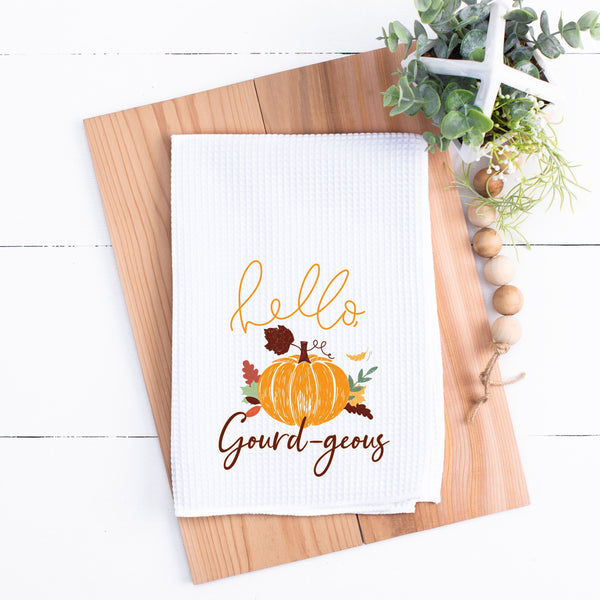 Hello Gourd-geous Kitchen Towel Fall Kitchen Towel Waffle Weave Kitchen Towel Fall Kitchen Towel