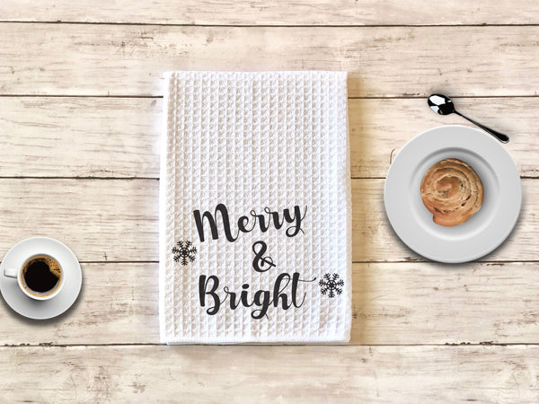 Merry and Bright Christmas Kitchen Towel Christmas Kitchen Towel Waffle Weave Kitchen Towel Christmas Gift Kitchen Towel