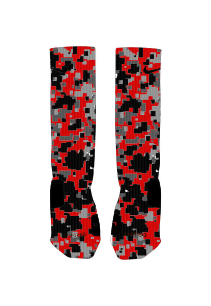 Red, Gray and Black Digital Camo Custom Nike Elite Socks