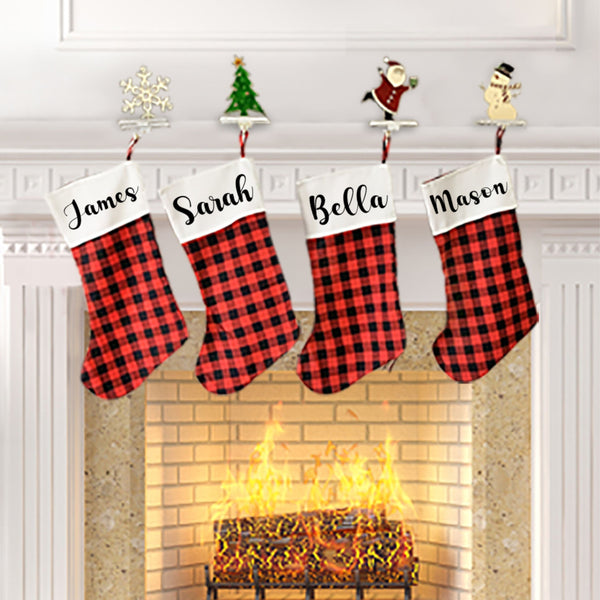 Personalized Christmas Stocking - Red Buffalo Plaid