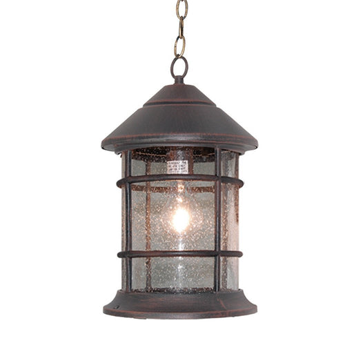 eTopLighting Bella Luce Collection Outdoor Pendant Hanging Lantern with Clear Seeded Glass