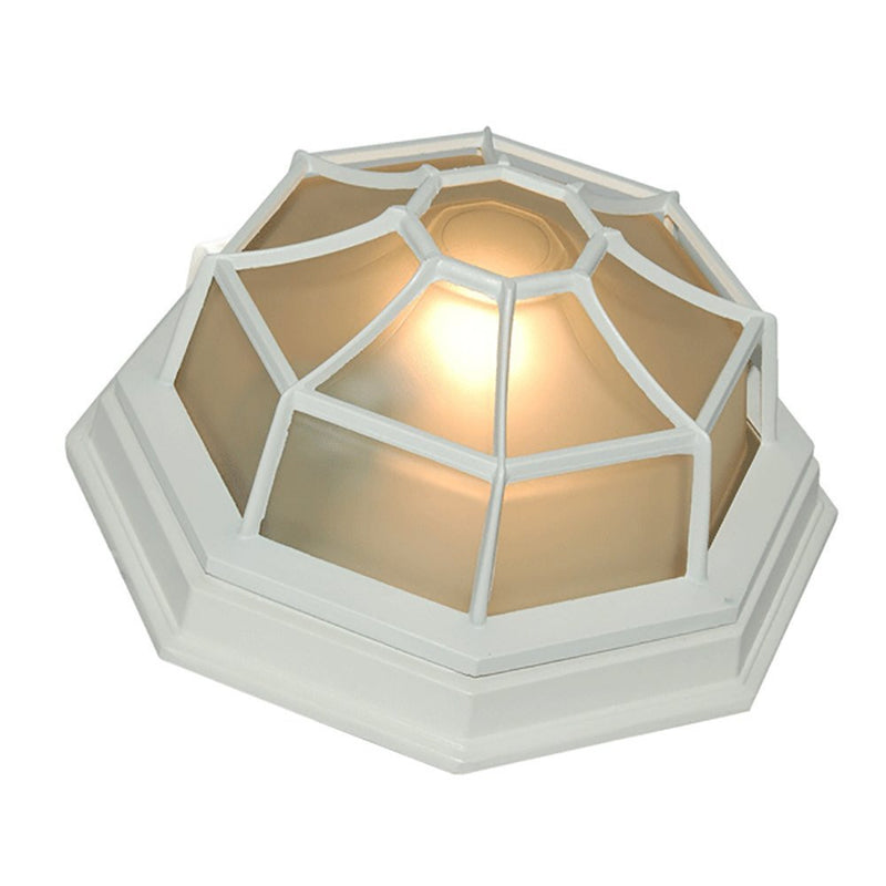 eTopLighting Oil Rubbed Finish Octagonal Exterior Outdoor Wall Ceiling Lantern Light Flush Mount with Frosted Glass