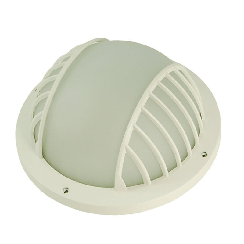 Luna Piena Collection Matte White Outdoor Wall Lantern with Frost Glass