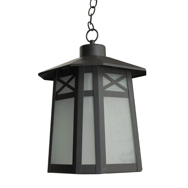 eTopLighting Liu Collection Exterior Pendant Hanging Lantern with Frost Glass