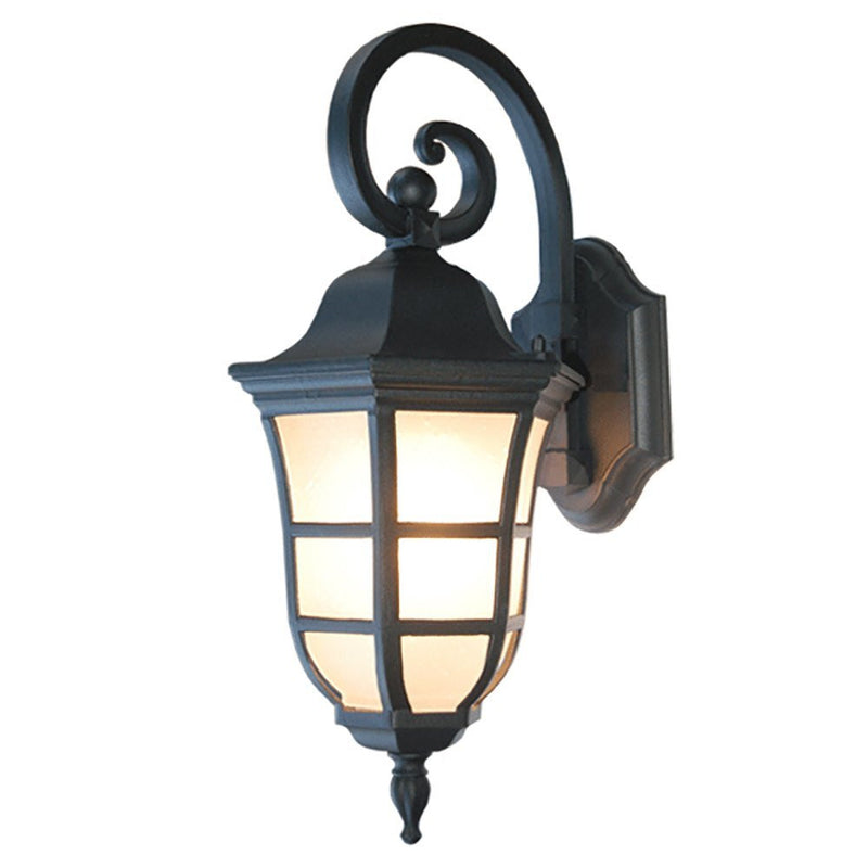 Le noir Collection Outdoor Lantern with Frost Bubbled Glass