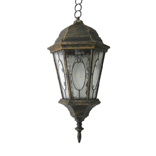 eTopLighting Venus Collection Outdoor Pendant Lantern with Mosaic Glass - Golden Black