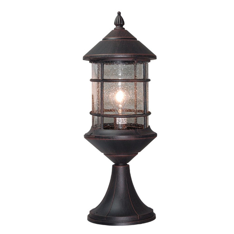 Bella Luce Collection Pillar Lantern, Rust Body Finish Clear Seeded Glass