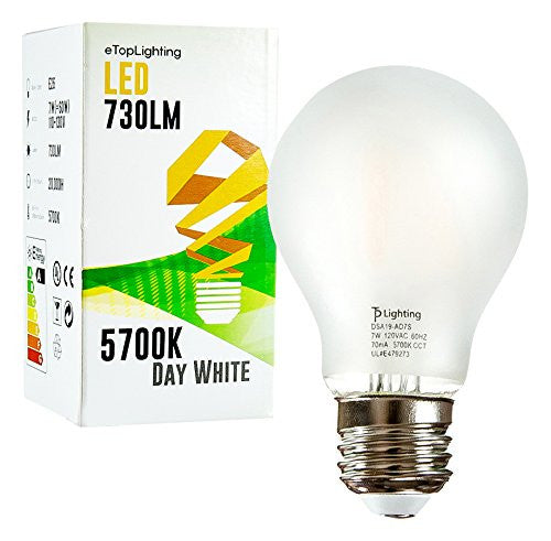 eTopLighting 10 Pack E26 Medium Base, Frost A19 LED Light Bulb, 5700K 730 Lumen, 60 Watt Replacement, Day White, V-VPL2015