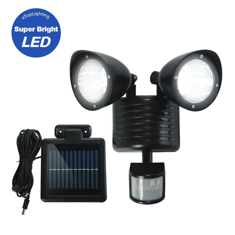 eTopLighting Dual-Head Motion Activated LED Solar Security Light