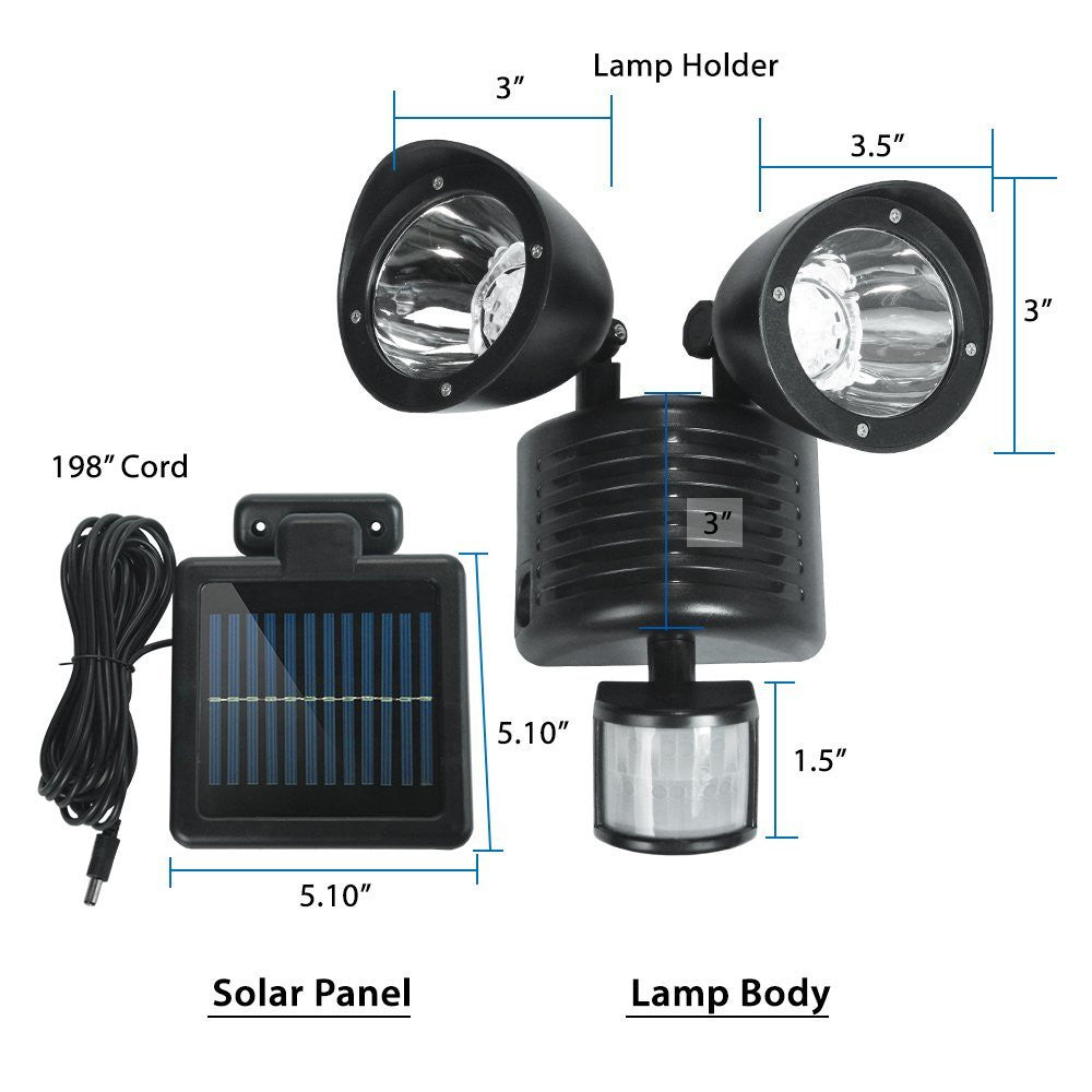 Etoplighting dual head motion activated led solar security light etoplighting dual head motion activated led solar security light mozeypictures Gallery