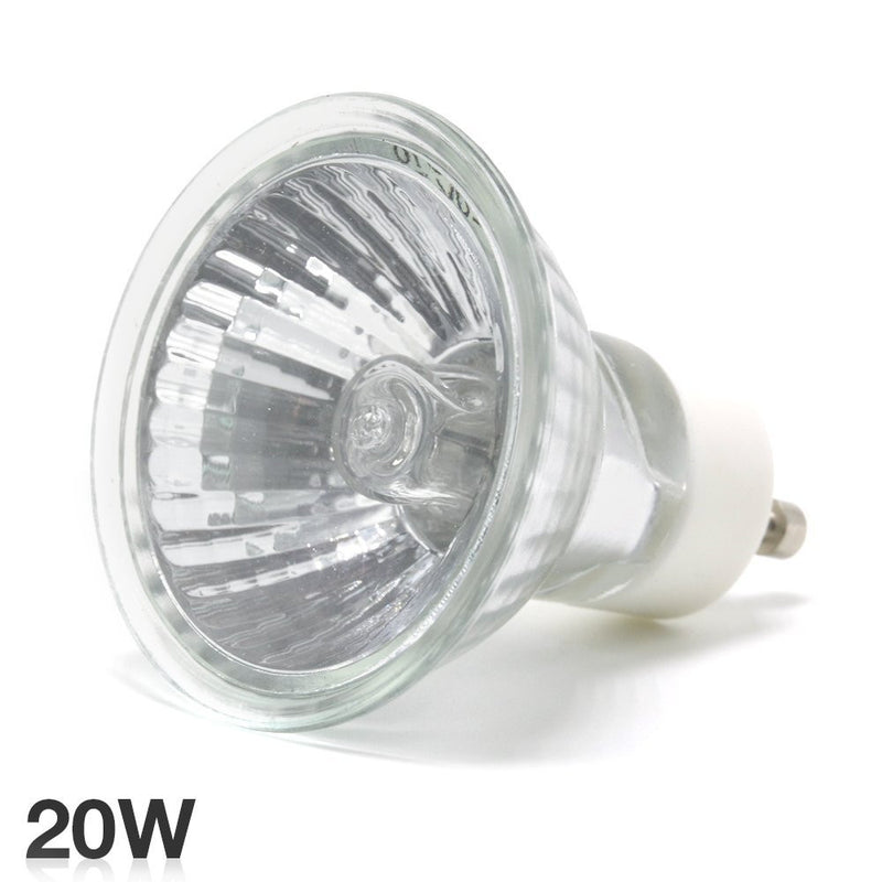 eTopLighting 20 Watt GU10 Halogen Light Bulbs with Clear UV Glass Cover 12 Volts 2,000 Life Hours, APL1616