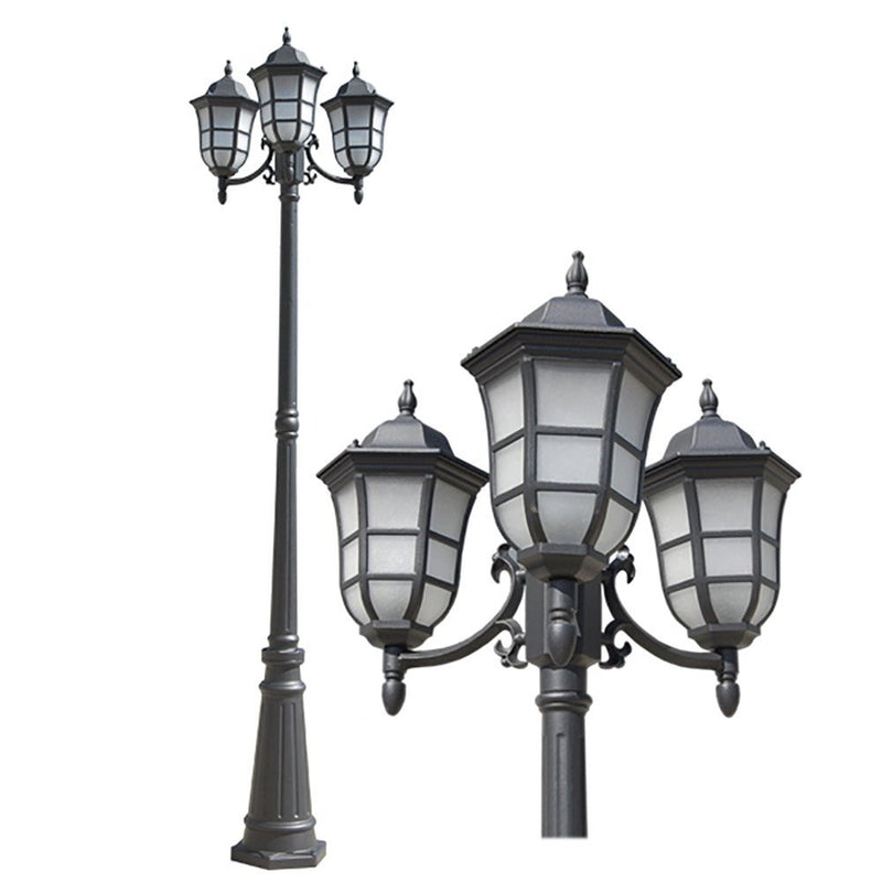 eTopLighting Le noir Collection Matt Black Finish Exterior Outdoor Lantern Light with Frost Bubbled Glass, Post APL1114