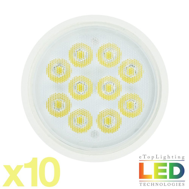 eTopLighting [10-Pack] MR16 GU10 7W LED Light Bulbs 600 Lumen Day Light White 6000K, APL1380