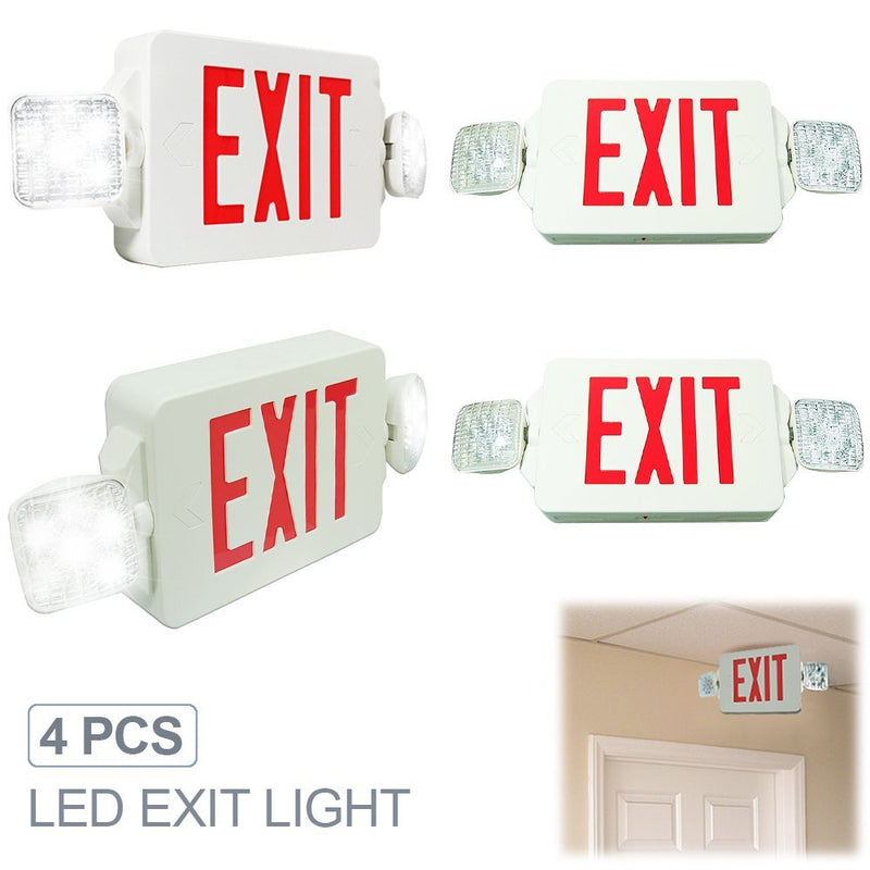 eTopLighting [4 Pack] LED Exit Sign Emergency Light, Angle Adjustable Side Light, Rotatable Head Light, White Body, Red Letter, Top / Side / Installation
