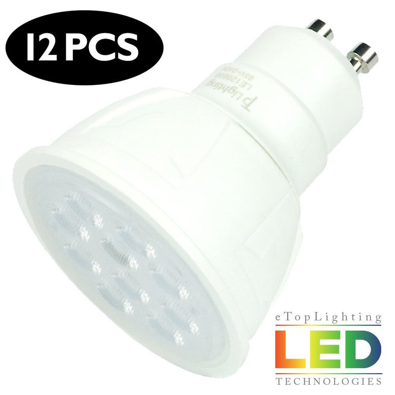 eTopLighting [12-Pack] MR16 GU10 7W LED Light Bulbs 600 Lumen Day Light White 6000K, APL1381