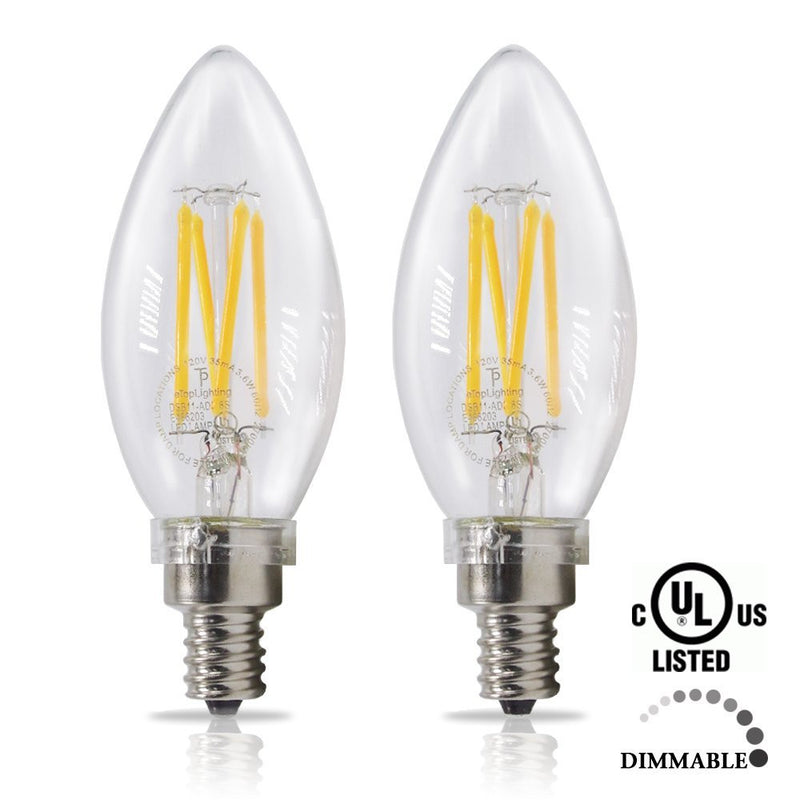 eTopLighting |2-Pack| 40 Watt 120 Volt Candelabra Dimmable LED Light Bulb with E12 Base 2700K Warm White, APL1660